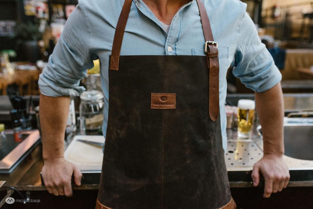 MicMacbags Lederen Kook/BBQ Schort Donker Bruin/Cognac-22030