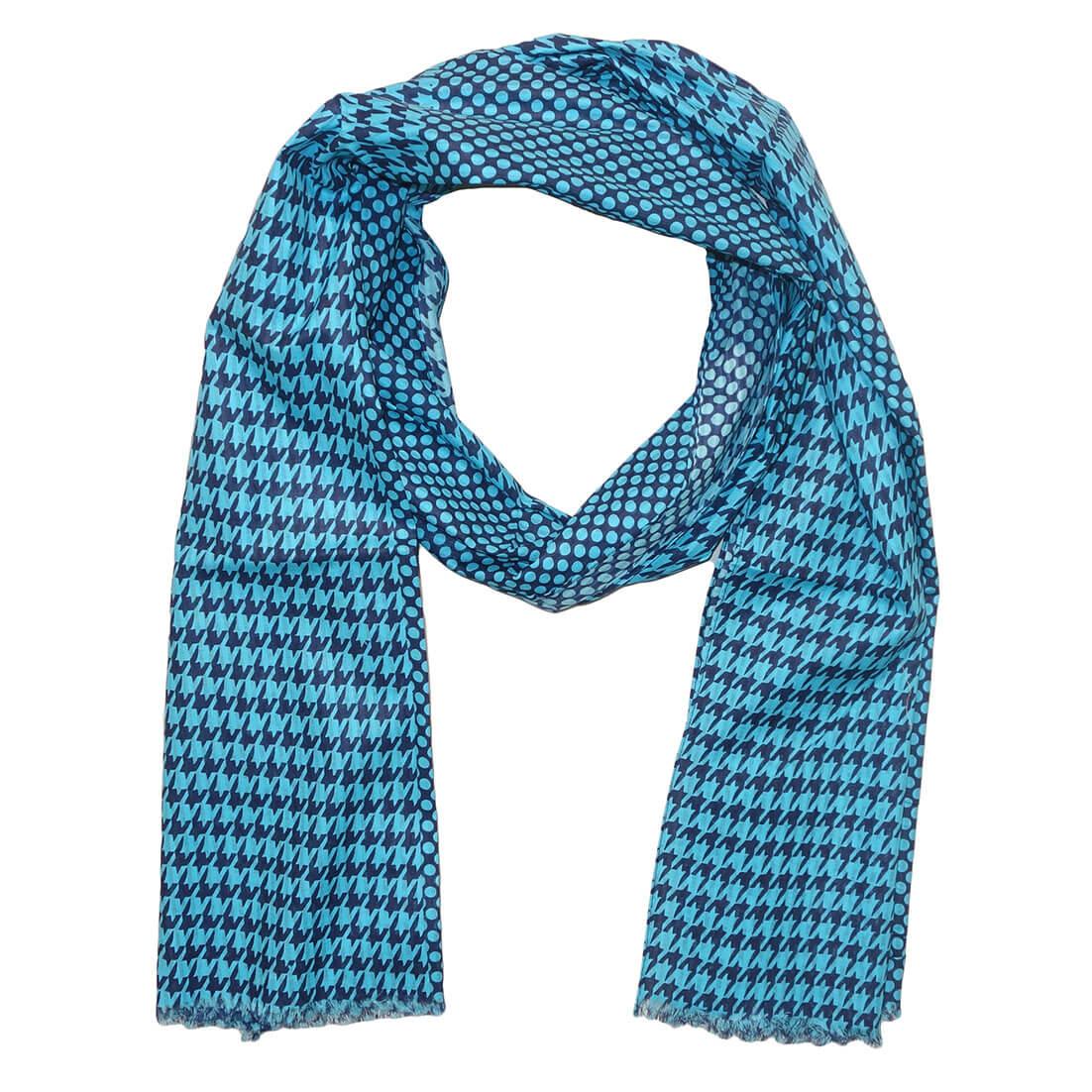 Langwerpige Katoenen Sjaal Polkadot / Pied de Poule Turquoise-0