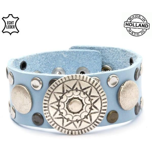 Echt Leren Dames Armband met Zon Ornament Licht Blauw-0