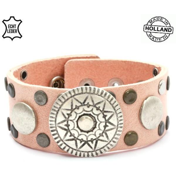 Echt Leren Dames Armband met Zon Ornament Roze-0