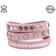 Echt Leren Love Hope Happiness Armband Roze