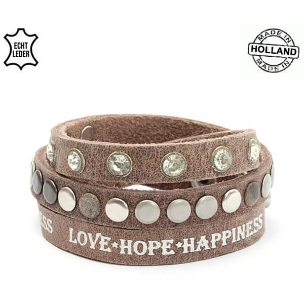 Echt Leren Love Hope Happiness Armband Bruin-0