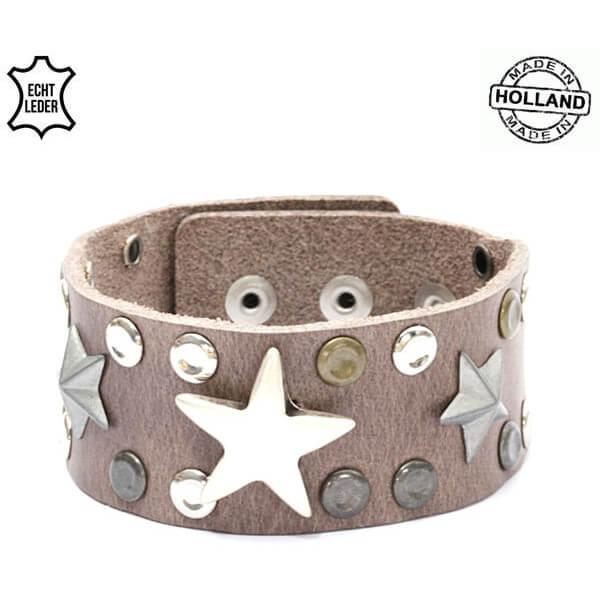 Echt Leren Dames Armband Sterren Bruin-0