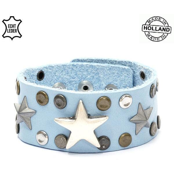 Echt Leren Dames Armband Sterren Licht Blauw-0