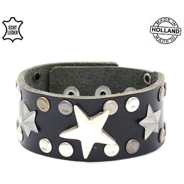Echt Leren Dames Armband Sterren Zwart-0