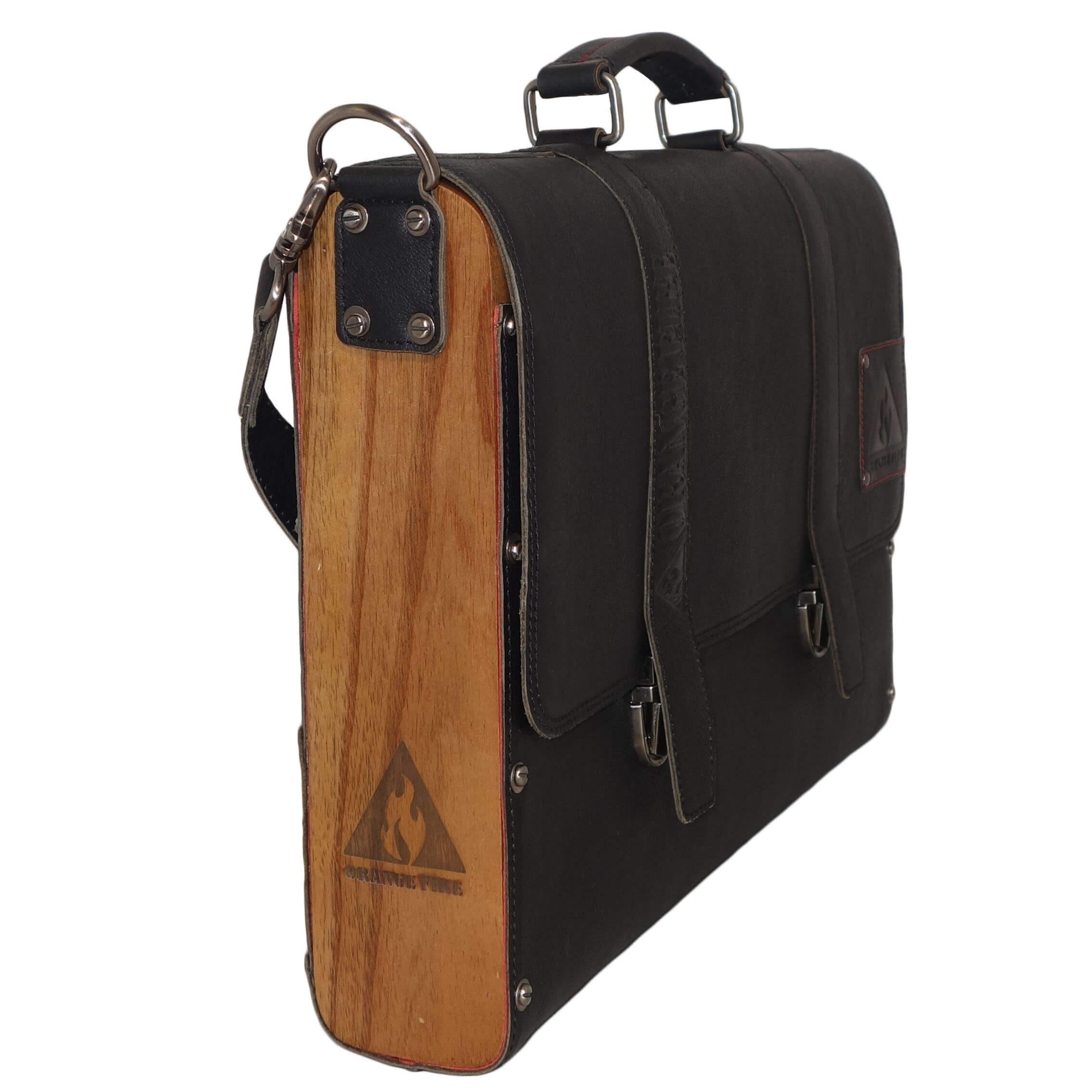 Feu Cuir Orange / Bois Portable A4 15,6 Sac À Ouvrage « » Black
