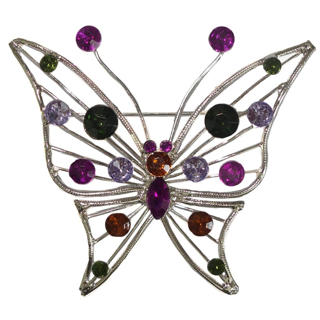 Broche Vlinder met Gekleurde Strass-0