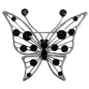 Broche Vlinder met Zwarte Strass
