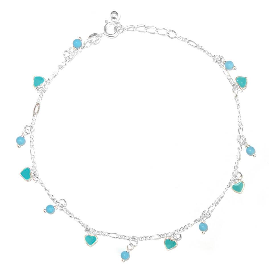 Enkelbandje Zilver Hearts & Beads Turquoise-0