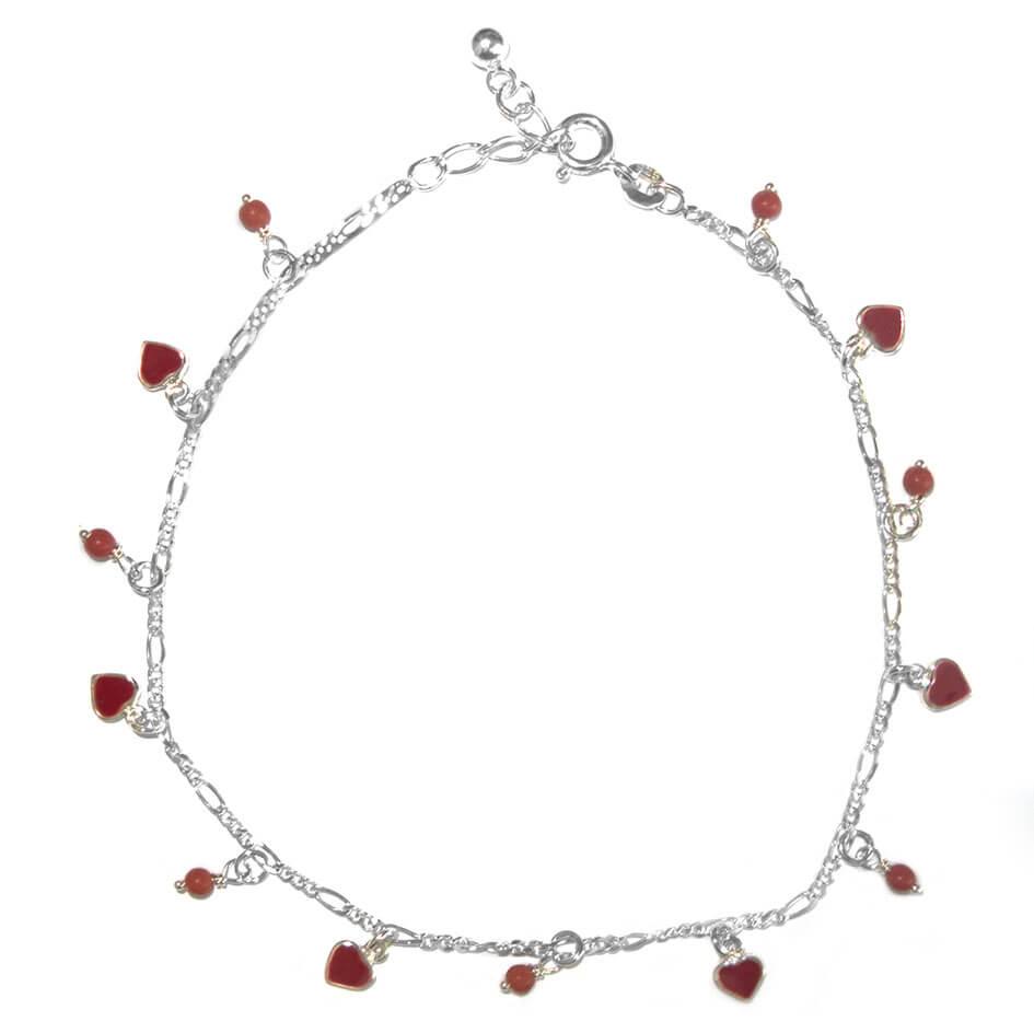 Enkelbandje Zilver Hearts & Beads Rood-0