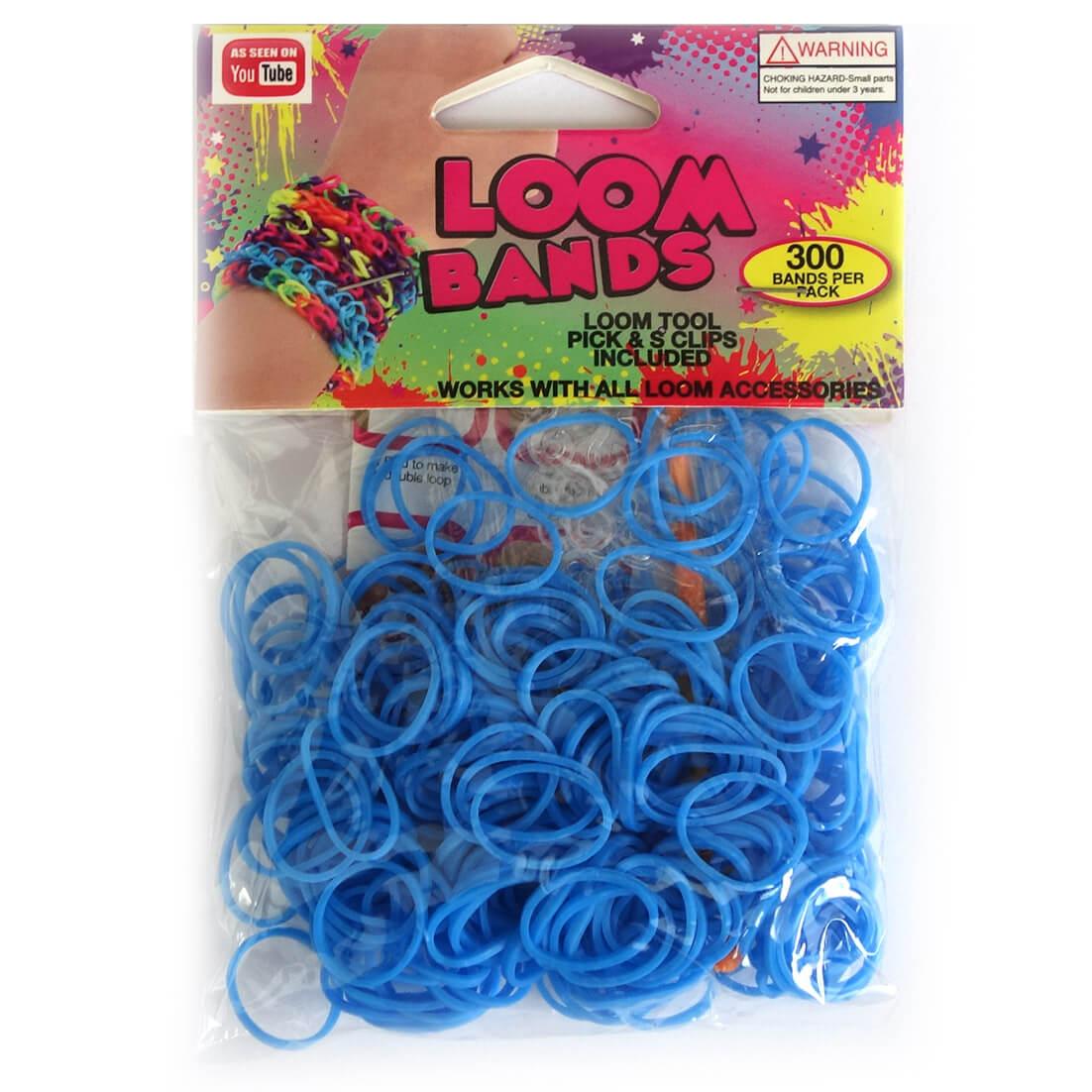 Loom Zakje met 300 Licht Blauwe Elastiekjes en 11 S-Clips-0