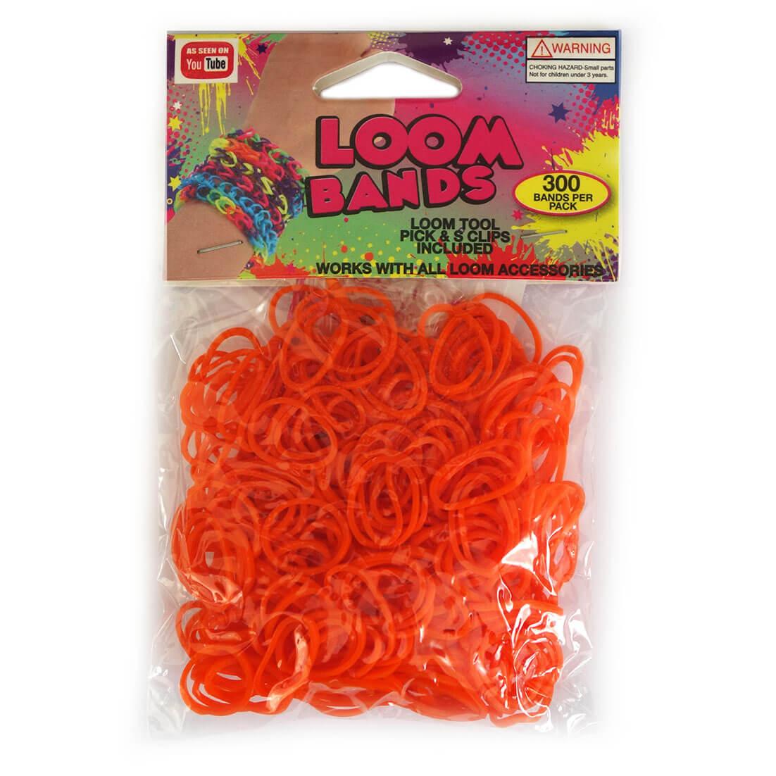Loom Zakje met 300 Oranje Elastiekjes en 11 S-Clips-0