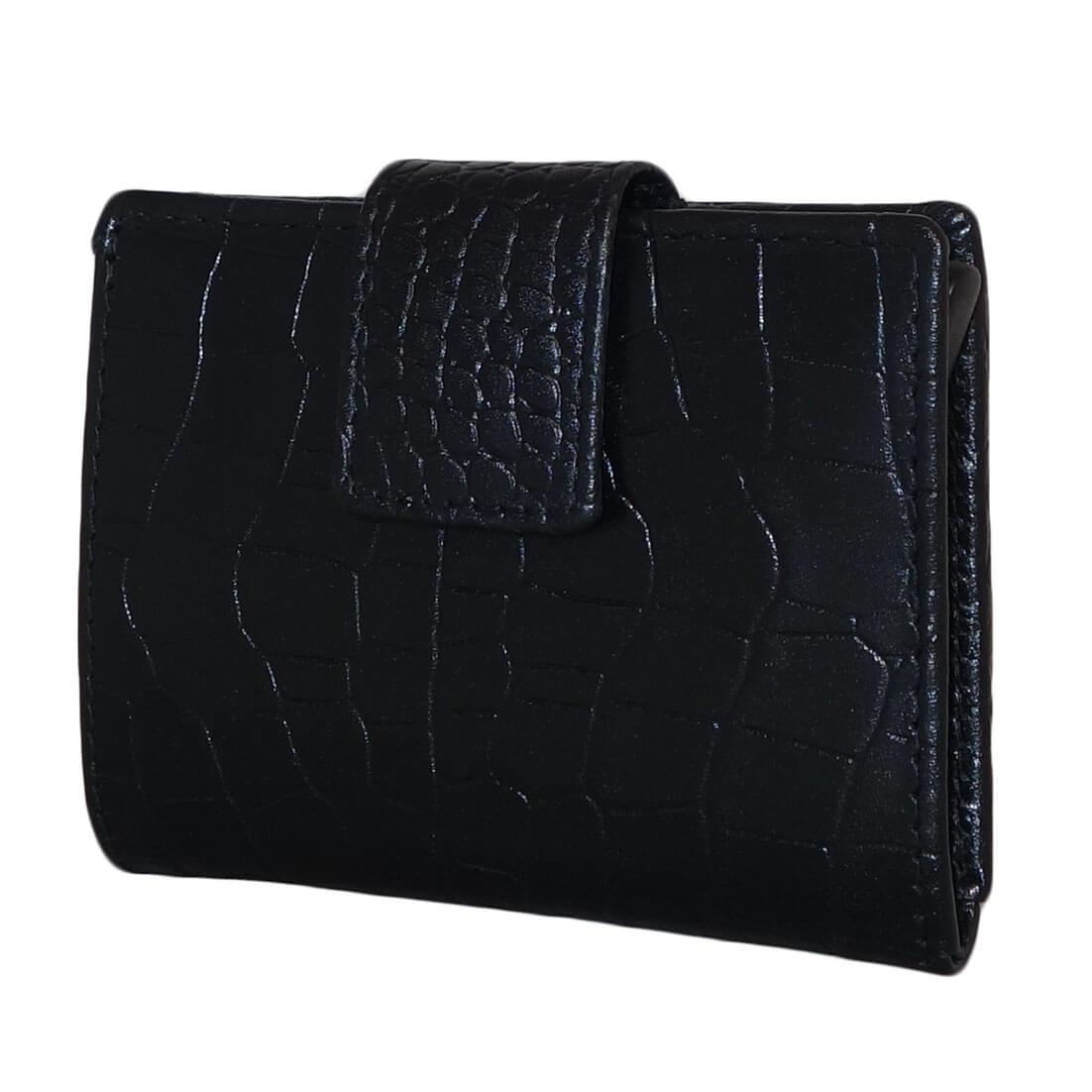 Porte-monnaie En Cuir Design Croco Noir Avec Porte-boîte xmrJJ0dA