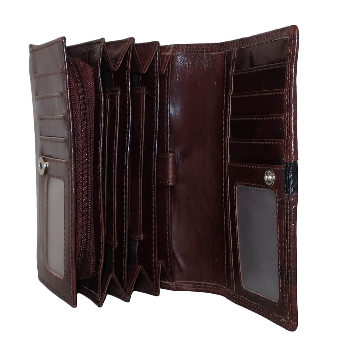 Dames Portemonnee Veel Pasjes.Leather Design Dames Portemonnee Croco Bruin Online Kopen
