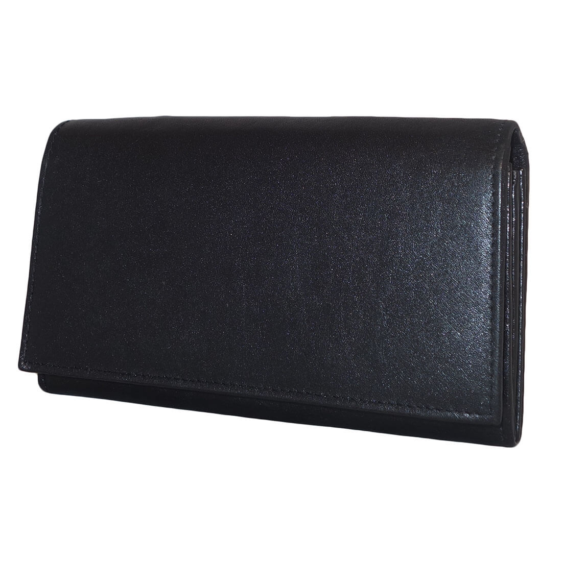 7a2d129006c Leather Design Dames Overslag Portemonnee met Beugel Zwart