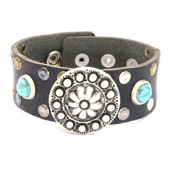 echt leren dames armband met bloem ornament en turquoise steentjes