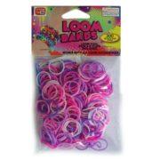 Loom Zakje met 300 Roze / Paars Tinten Elastiekjes en 11 S-Clips