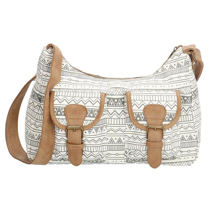 d8f121973b4 Leuke schoudertas van Beagles met aztec print in een combinatie van grijs  en wit. De tas is gemaakt van stevig canvas. De tas beschikt over een ruim  ...