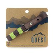Quest Leren Armband Donkerbruin / Groen Q12