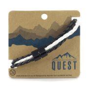 Quest Leren Armband 3 Band Zwart/ Wit Q4