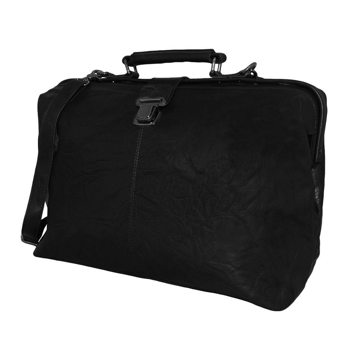 Leather Design Dokterstas Groot met Laptopvak 16.4'' Zwart