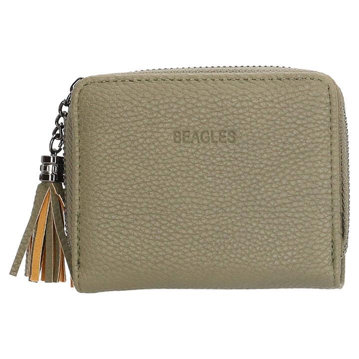 Leren Dames Portemonnee Groot Veel Vakjes.Beagles Compacte Portemonnee Barcelona Olijf Shop Online