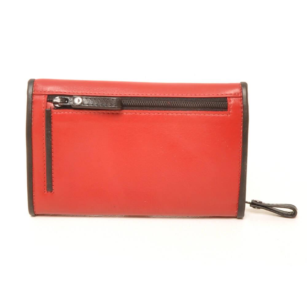 Portemonnee Klein Dames.Berba Dames Overslag Portemonnee Soft Rood Zwart Shop Online