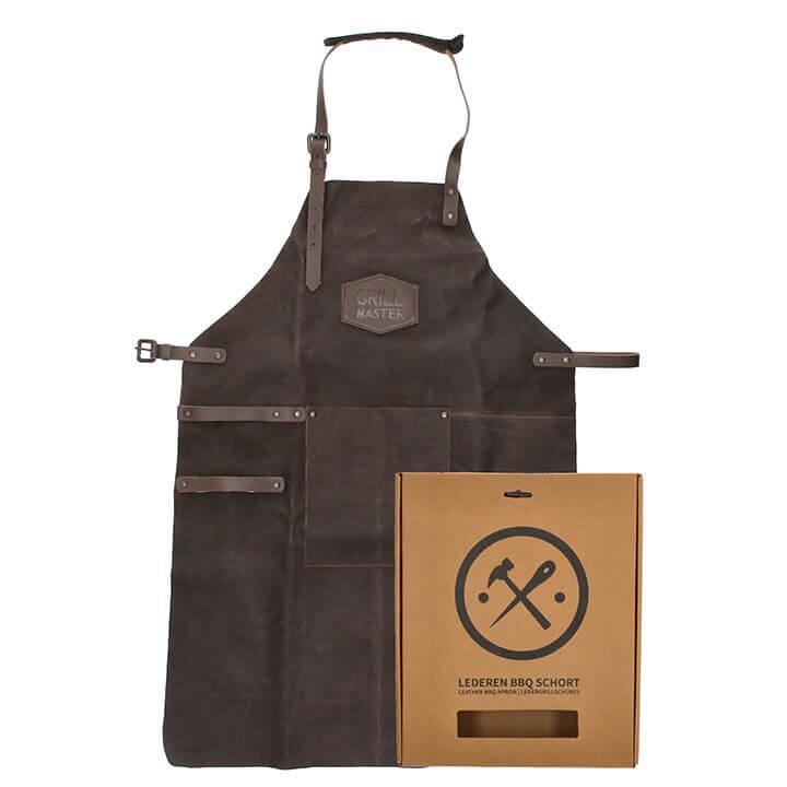 Hide & Stitches Lederen Kook/BBQ Schort Donker Bruin