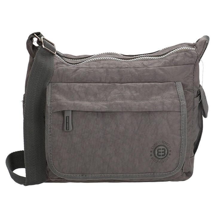 8f02f0c0850 Leuke crinkle nylon Enrico Benetti schoudertas met overslag. De tas heeft  veel vakjes zodat u uw spullen goed gescheiden kunt houden.