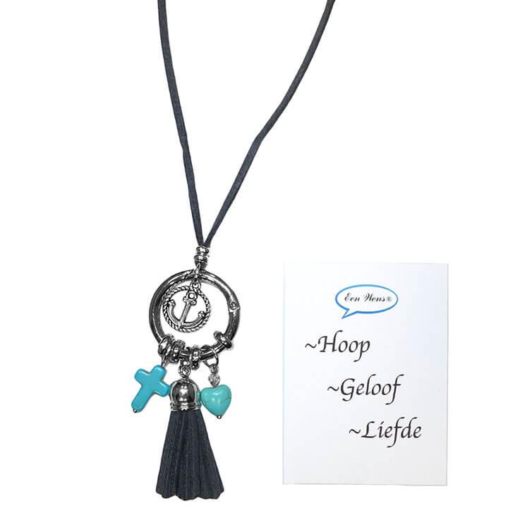 suède ketting hoop geloof liefde | shop online