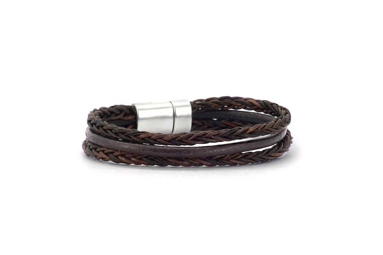 Qoss Heren Leren Armband Jaap Bruin