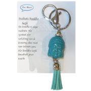 De Meditatie Boeddha Hoofd Sleutelhanger Turquoise
