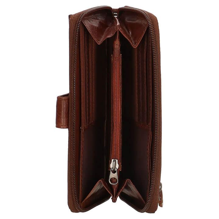 Old West Zip Around Portemonnee met Smartphone Vak RFID Bruin