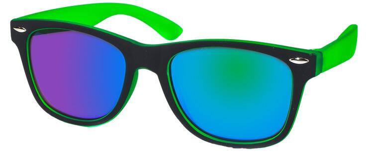 Kool-KidZ Wayfarer Kinder Zonnebril Zwart/Groen