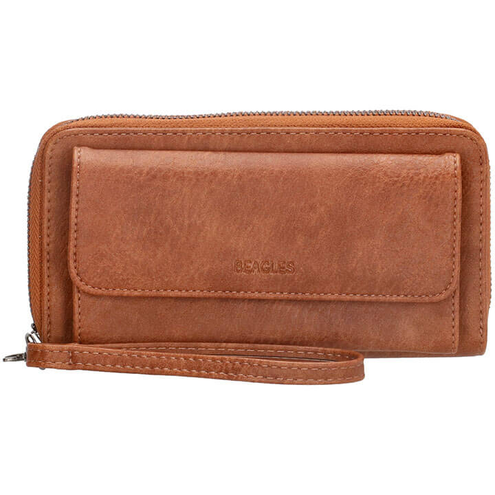 Beagles Zip Around Portemonnee / Clutch Rebelle Cognac