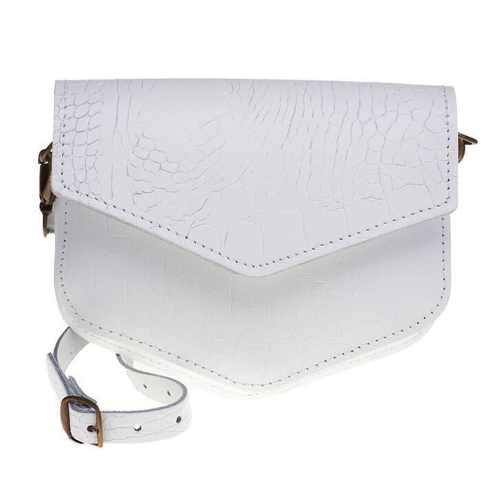 Elvy Crossbody Schoudertasje Kelly Croco Wit