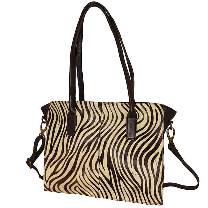 Bear Design Handtas / Schoudertas met Vachtje Zebra