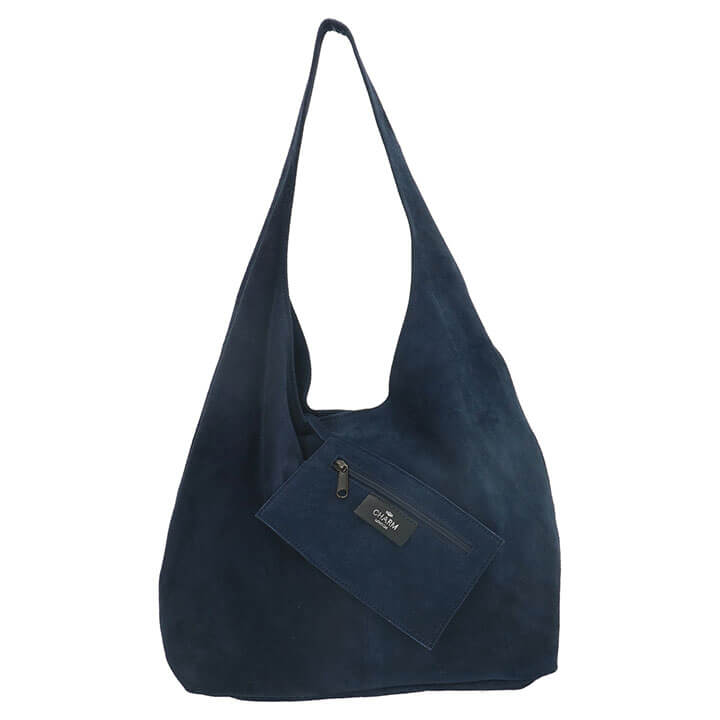 Charm London Suède Shopper met Etui Navy Blauw