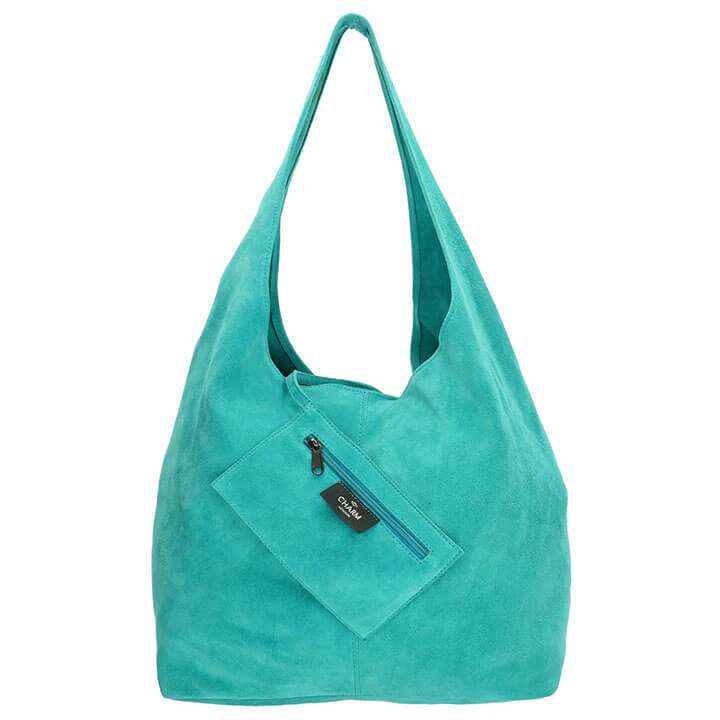Charm London Suède Shopper met Etui Aqua Blauw