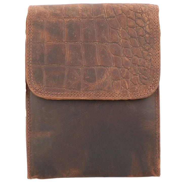 Leather Design Schoudertasje met Overslag Hunter Bruin