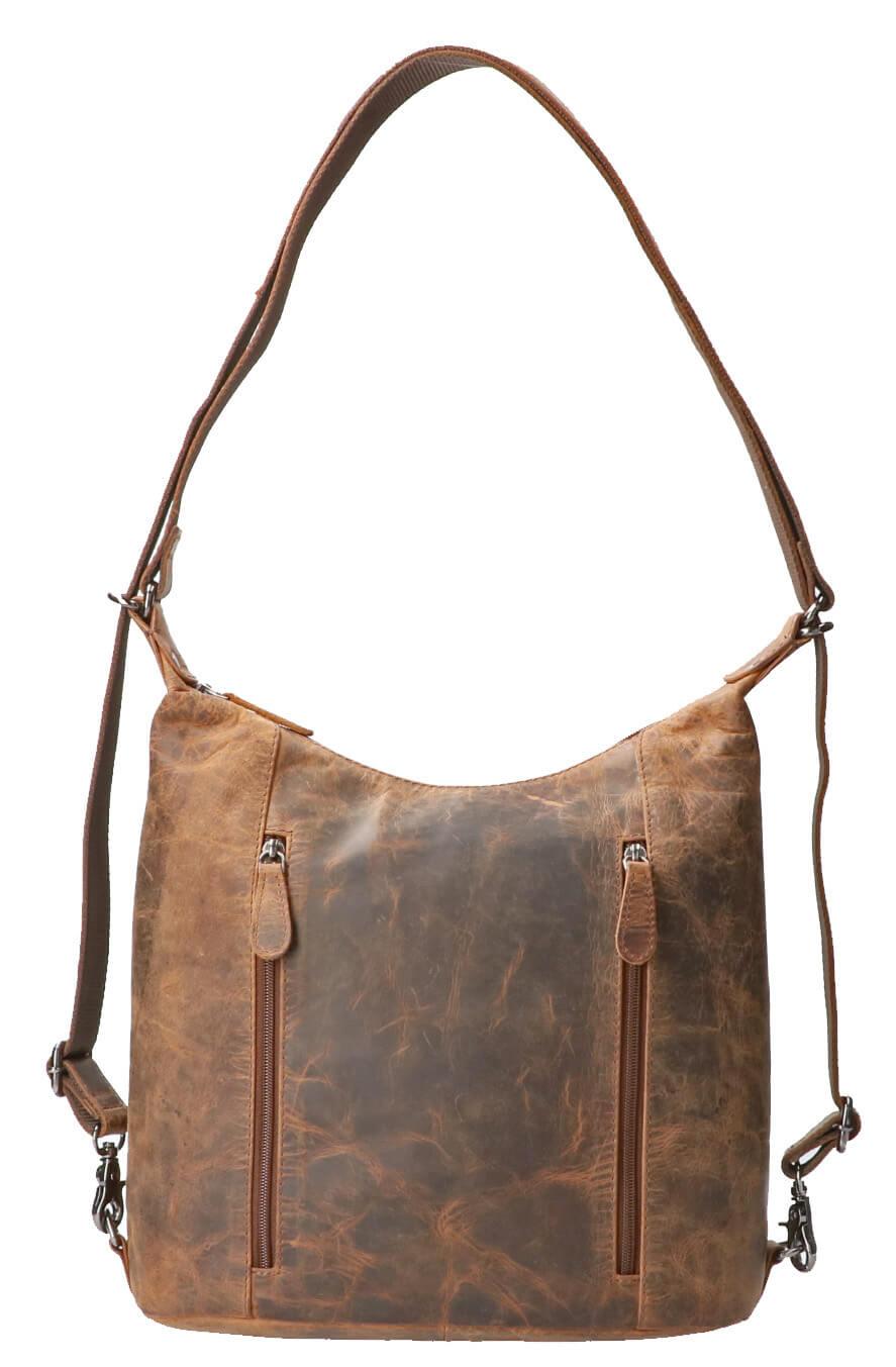 Leather Design Rugzak / Shopper Hunter Bruin