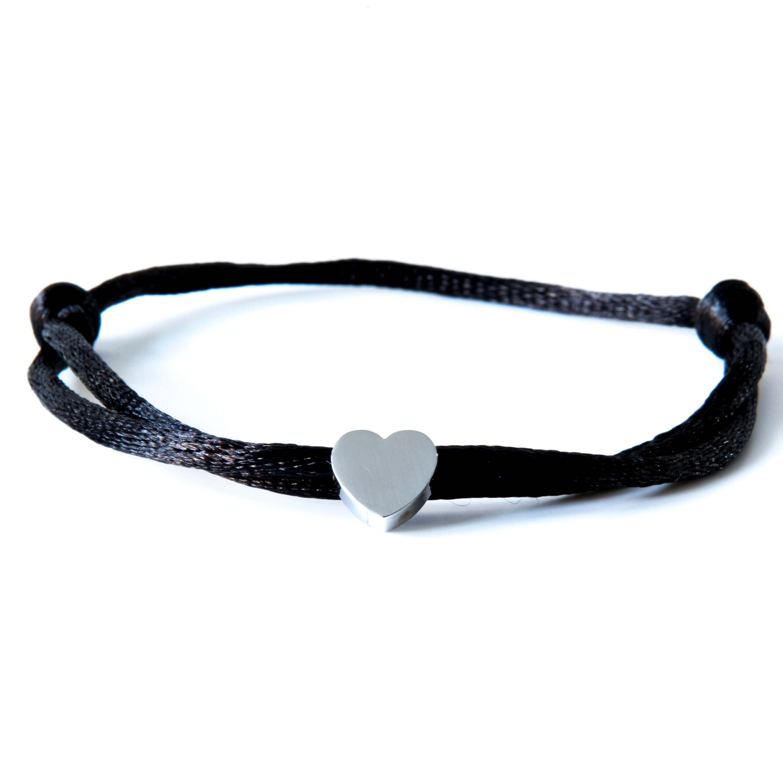 Caviar Collection Armband / Enkelbandje Neon Black X Heart Silver