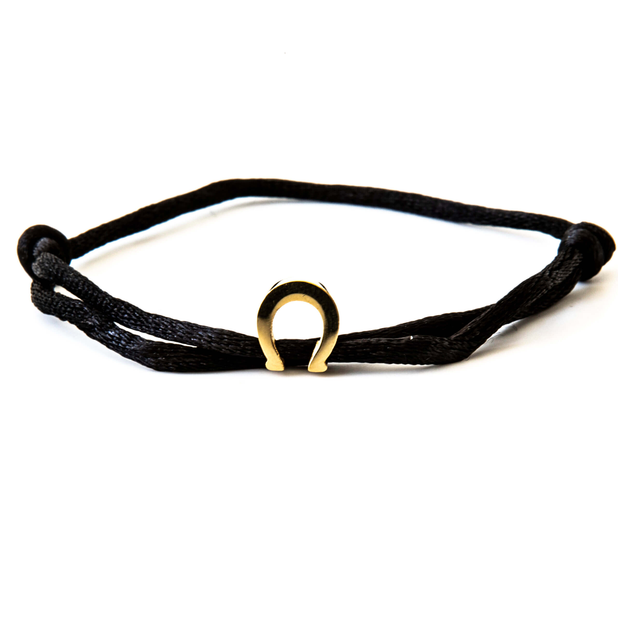 Caviar Collection Armband / Enkelbandje Neon Black X Horseshoe Gold