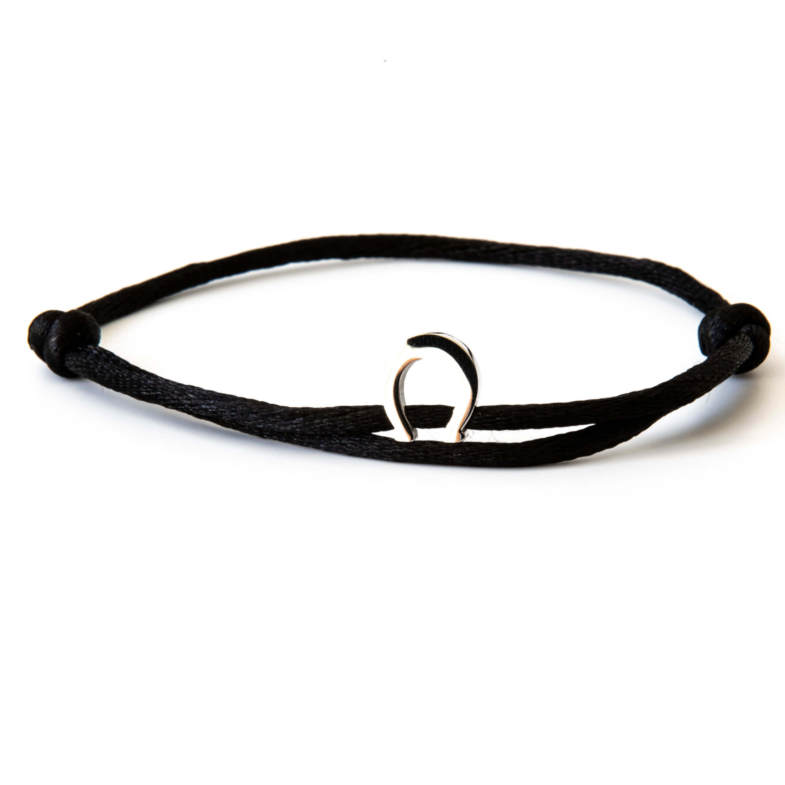 Caviar Collection Armband / Enkelbandje Neon Black X Horseshoe Silver