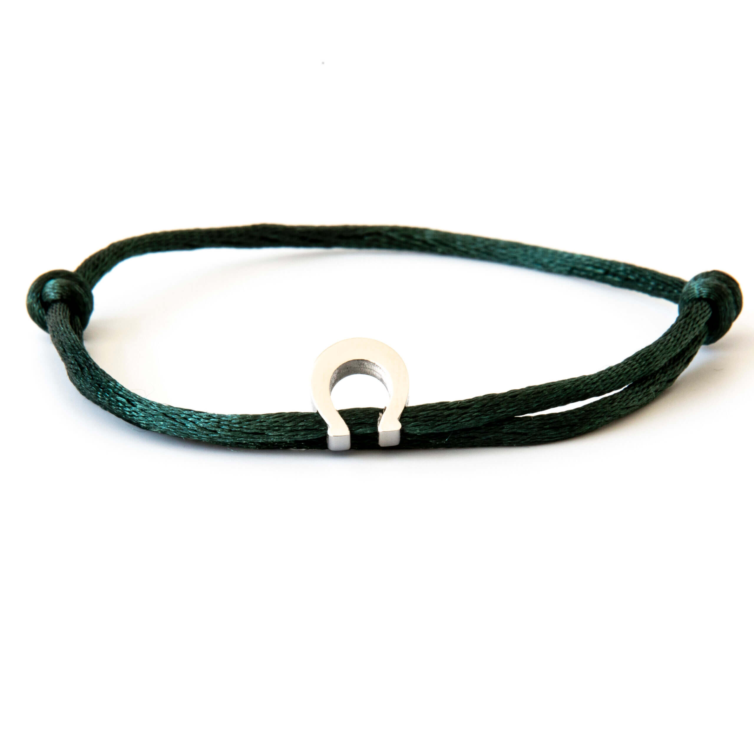 Caviar Collection Armband / Enkelbandje Neon Dark Green X Horseshoe Silver