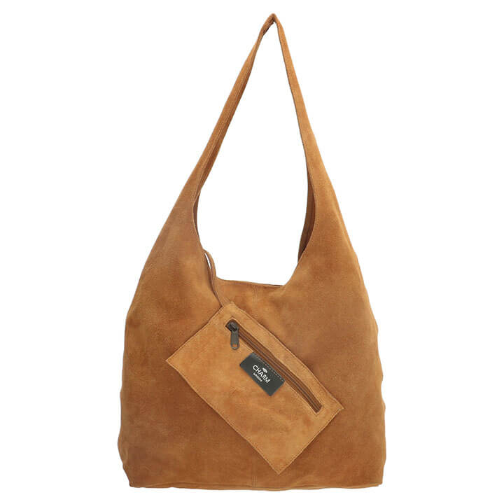 Charm London Brixton Suède Shopper met Etui Cognac