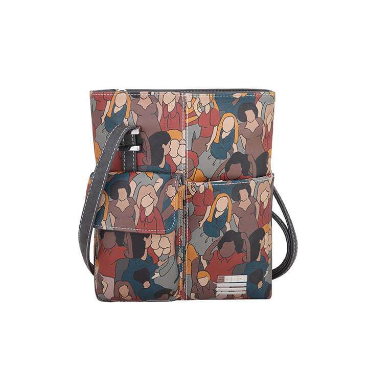 EEEZI Crossbody Schoudertas Print - Dark Grey