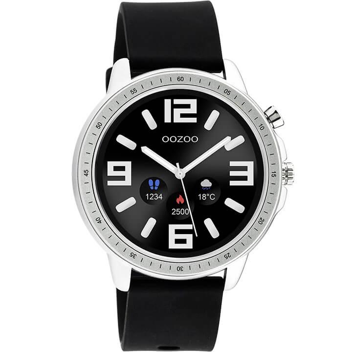 OOZOO Smartwatch Rubber Zwart/Zilver | Q00300