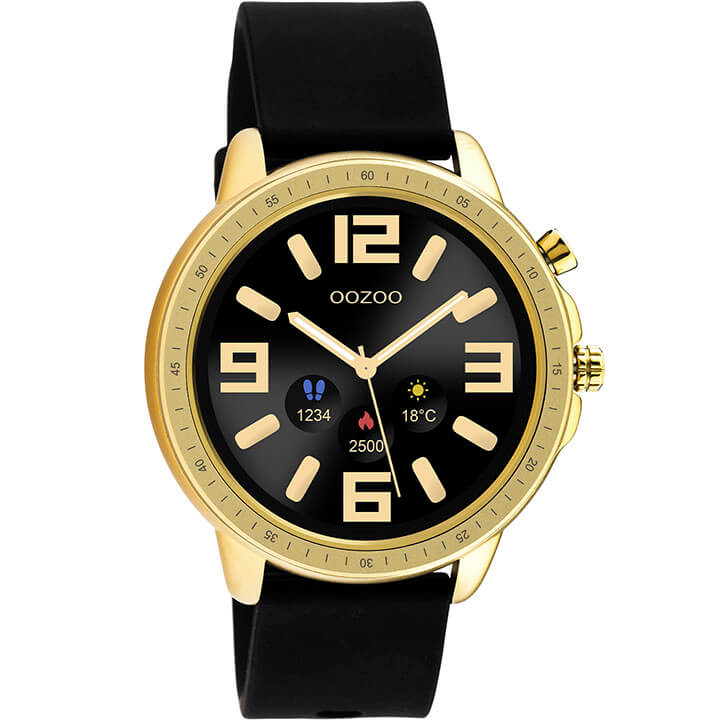 OOZOO Smartwatch Rubber Zwart/Goud | Q00301