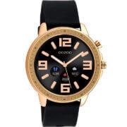 OOZOO Smartwatch Rubber Zwart/Rosé Goud   Q00303